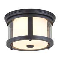 DVI Lighting Niagara 2 Light Outdoor Flushmount in Hammered Black with Clear Glass DVP4470HB-CL