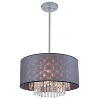 DVI Lighting Piccadilly 5 Light Pendant in Chrome with Silver Grey Fabric Shade DVP4822CH-SIG