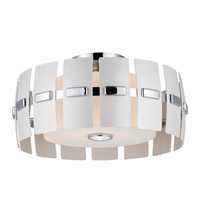 DVI Lighting Luna 2 Light Semi Flush Mount in Chrome with White Pearlized Metal Panels DVP5211CH-WPM