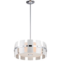 DVI Lighting Luna 3 Light Pendant in Chrome with White Pearlized Metal Panels DVP5218CH-WPM