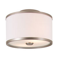 DVI Lighting Milan 2 Light Semi Flush Mount in Buffed Nickel with Sateen White Shade DVP5304BN-SW