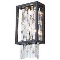 DVI Lighting Amethyst 2 Light Wall Sconce in Graphite with Clear Crystals DVP6301GR-CRY