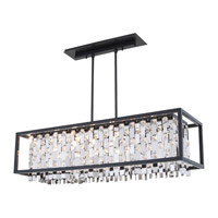 DVI Lighting Amethyst 6 Light Linear Pendant in Graphite with Clear Crystals DVP6302GR-CRY