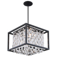 DVI Lighting Amethyst 4 Light Pendant in Graphite with Clear Crystals DVP6305GR-CRY