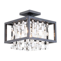 DVI Lighting Amethyst 4 Light Semi Flush Mount in Graphite with Clear Crystals DVP6311GR-CRY