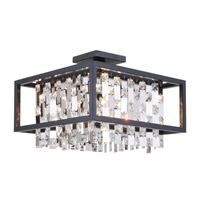 DVI Lighting Amethyst 4 Light Semi Flush Mount in Graphite with Clear Crystals DVP6312GR-CRY
