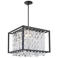 DVI Lighting Amethyst 4 Light Pendant in Graphite with Clear Crystals DVP6320GR-CRY