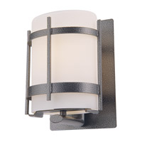 DVI Lighting Vermillion 1 Light Outdoor Wall Sconce in Hammered Black with Half Opal Glass DVP6971HB-OP