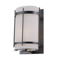 DVI Lighting Vermillion 1 Light Outdoor Wall Sconce in Hammered Black with Half Opal Glass DVP6972HB-OP