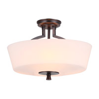 DVI Lighting Georgetown 3 Light Semi Flush Mount in Oil Rubbed Bronze with Half Opal Glass DVP7211ORB-OP