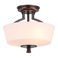 DVI Lighting Georgetown 3 Light Semi Flush Mount in Oil Rubbed Bronze with Half Opal Glass DVP7212ORB-OP