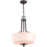 DVI Lighting Georgetown 3 Light Pendant in Oil Rubbed Bronze with Half Opal Glass DVP7220ORB-OP