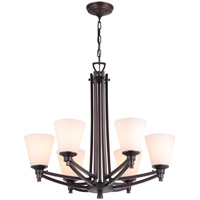 DVI Lighting Georgetown 6 Light Chandelier in Oil Rubbed Bronze with Half Opal Glass DVP7226ORB-OP