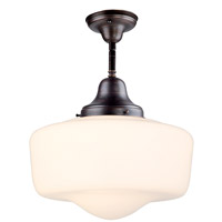 DVI Lighting Schoolhouse 1 Light Semi Flush Mount in Oil Rubbed Bronze with Opal Glass DVP7511ORB