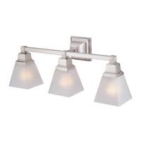 DVI Lighting Aurora 3 Light Bathroom Vanity in Polished Nickel with Acid Etched Glass DVP7643NI