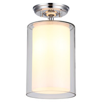 DVI Lighting Essex 1 Light Semi Flush Mount in Chrome with Half Opal Glass DVP9012CH-OP