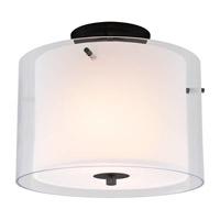 DVI Lighting Essex 2 Light Semi Flush Mount in Graphite with Half Opal Glass DVP9013GR-OP