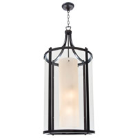 DVI Lighting Essex 4 Light Foyer Pendant in Oil Rubbed Bronze with Butterscotch Glass DVP9014ORB-BS