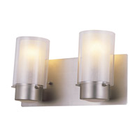 DVI Lighting Essex 2 Light Bathroom Vanity in Buffed Nickel with Half Opal Glass DVP9022BN-OP
