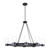 DVI Lighting Essex 8 Light Chandelier in Buffed Nickel with Half Opal Glass DVP9028ORB-OP