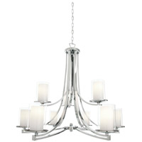 DVI Lighting Essex 9 Light Chandelier in Chrome with Half Opal Glass DVP9029CH-OP