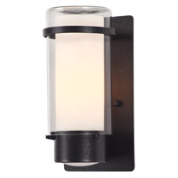 DVI Lighting Essex 1 Light Sconce in Hammered Black with Half Opal Glass DVP9072HB-OP