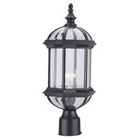 DVI Lighting Hexagon 1 Light Post Top in Black with Clear Bevelled Glass OCA140804BK