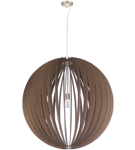 Eglo 201602A Cossano 1 Light 39 inch Satin Nickel Pendant Ceiling Light, Dark Brown Wood photo