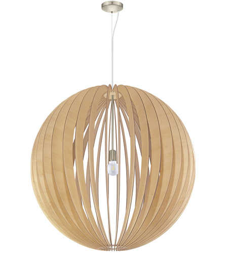 Eglo 201603A Cossano 1 Light 39 inch Satin Nickel Pendant Ceiling Light, Maple Wood photo