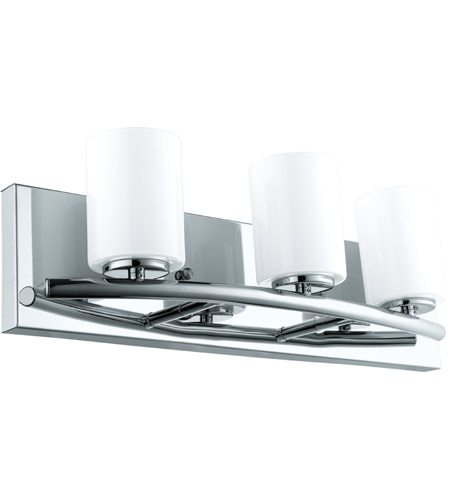 Eglo 201713A Abete 3 Light 18 inch Chrome Vanity Light Wall Light, White Glass photo