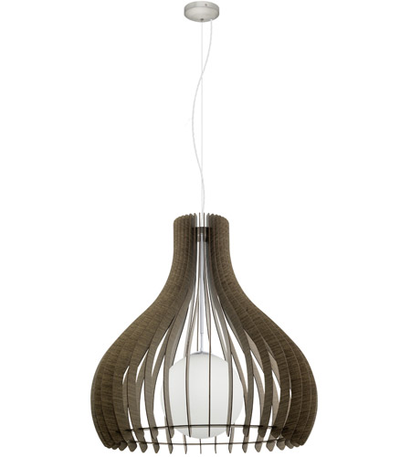 Eglo 201829a Tindori 1 Light 16 Inch Pendant Ceiling Dark Brown Wood White Gl