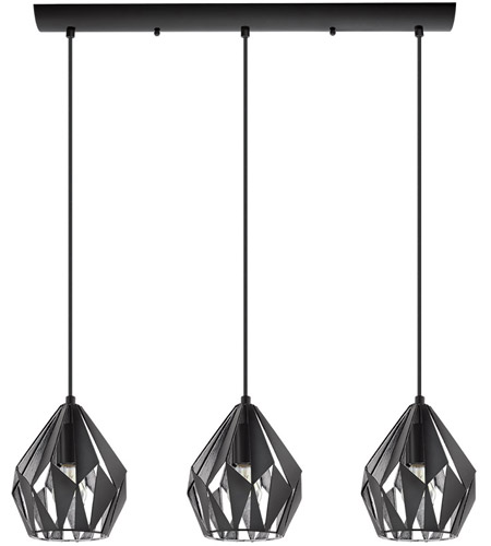 Eglo 202037A Carlton III 3 Light 31 inch Matte Black and Silver Linear Pendant Ceiling Light photo