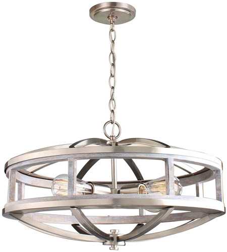 Montrose 4 Light 19 Inch Acacia Wood And Brushed Nickel Chandelier Ceiling