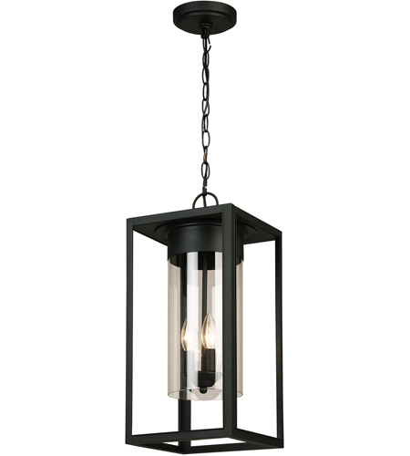 Walker Hill 3 Light 9 Inch Matte Black Outdoor Pendant