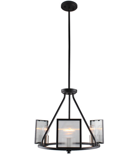 Eglo 203724A Henessy 3 Light 19 inch Black and Brushed Nickel Chandelier Ceiling Light photo