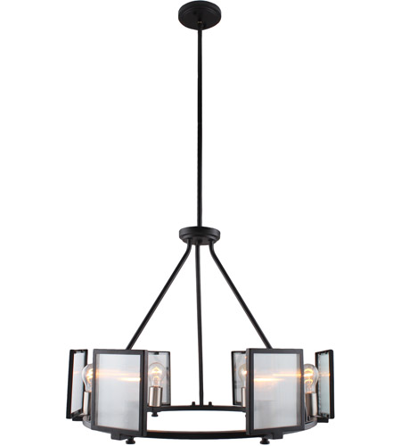 Eglo 203725A Henessy 6 Light 25 inch Black and Brushed Nickel Chandelier Ceiling Light photo