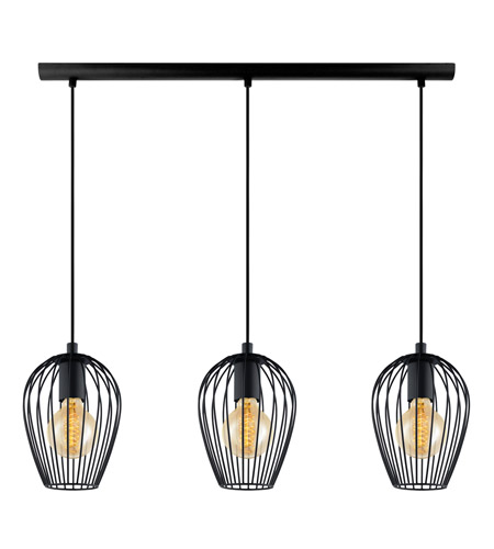 Eglo 49478A Newtown 3 Light 6 inch Matte Black Multi Light Pendant Ceiling Light photo