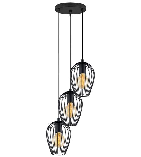 eglo 49479a newtown 3 light 16 inch matte black multi light pendant