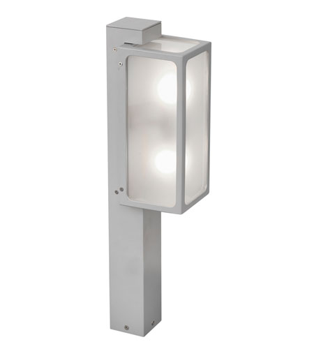 Eglo Linares 2 Light Outdoor Post Light in Silver 88113A photo