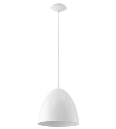 Eglo 92717A Coretto 1 Light 11 inch Steel / Glossy White Pendant Ceiling Light photo
