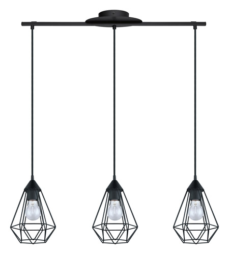 Eglo 94189A Tarbes 3 Light 6 inch Matte Black Multi Light Pendant Ceiling Light  photo