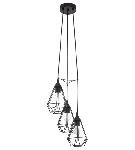 Eglo 94191A Tarbes 3 Light 12 inch Matte Black Multi Light Pendant Ceiling Light photo