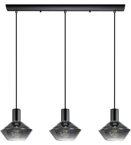 Ponzano 3 Light 28 Inch Black Chrome Linear Pendant Ceiling