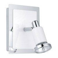 Eridan 1 Light 5 inch Chrome & Shiny White Wall Spot Wall Light
