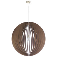 Eglo Cossano 1 Light Pendant in Satin Nickel with Dark Brown Wood 201602A