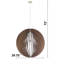 Eglo 201602A Cossano 1 Light 39 inch Satin Nickel Pendant Ceiling Light, Dark Brown Wood alternative photo thumbnail