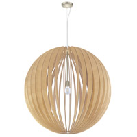 Eglo 201603A Cossano 1 Light 39 inch Satin Nickel Pendant Ceiling Light, Maple Wood