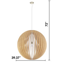Eglo 201603A Cossano 1 Light 39 inch Satin Nickel Pendant Ceiling Light, Maple Wood alternative photo thumbnail