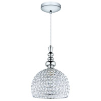 Eglo 201607A Bonares 1 Light 10 inch Chrome Pendant Ceiling Light, Clear Crystals