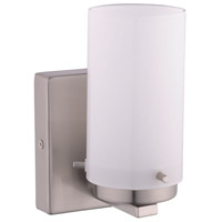 Olmia 1 Light 5 inch Satin Nickel Vanity Light Wall Light, White Glass